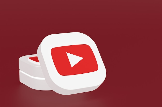 3d-rendering des youtube-anwendungslogos auf rotem hintergrund