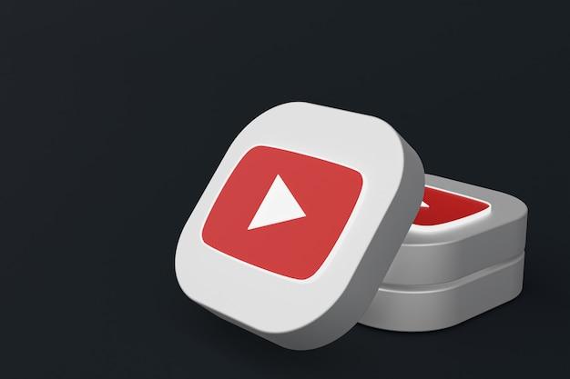 3d-rendering des youtube-anwendungslogos auf schwarzem hintergrund