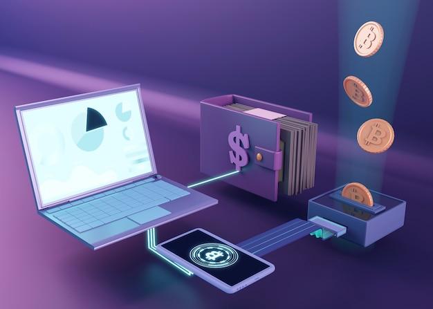 3d-rendering-design für kryptowährungen