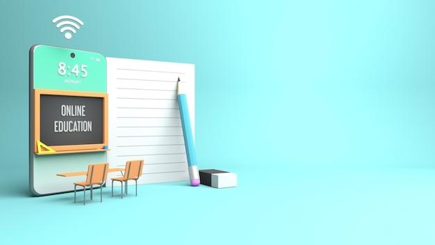 3d-rendering-design für online-bildung mit textfreiraum