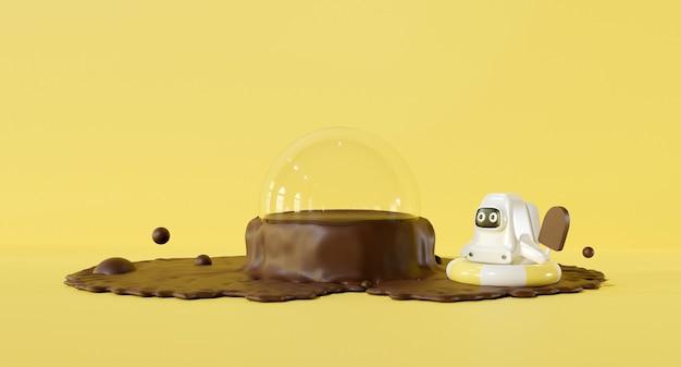 3d-rendering-design. pastellgelbes niedliches cartoon-astronautenkind und schokoladenwasser.