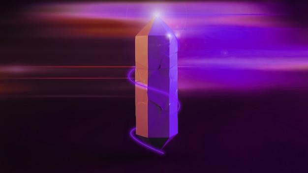 3d-rendering, digitale illustration, abstrakte lila amethystkristalle, facettierter edelstein, geologie, nugget, mineraliensammlung
