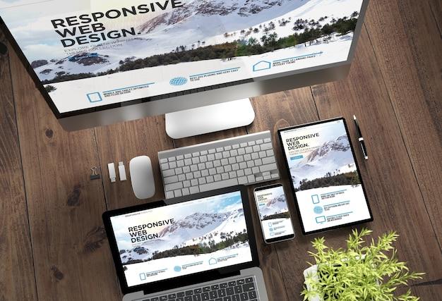 3d-rendering-draufsicht auf geräte mit ansprechender website auf dem bildschirm auf holzdesktop