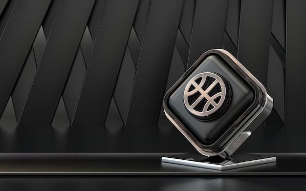 3d-rendering dribbling symbol social media banner dunklen abstrakten hintergrund