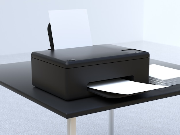3d-rendering-drucker des office-technologiekonzepts