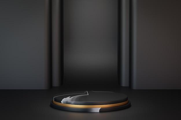 3d-rendering dunklen hintergrund. schritt marmor schwarz gold zylinder bühnenpodest auf schwarzem schichthintergrund. bild zur präsentation.