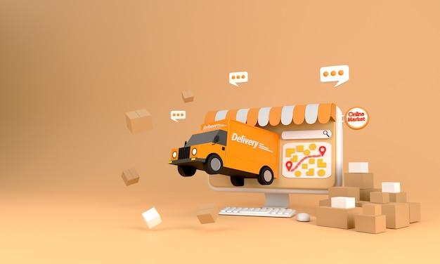 3d-rendering. e-commerce-konzept, online-shopping und lieferservice auf computeranwendung, transport-hochgeschwindigkeitslieferung per lkw,