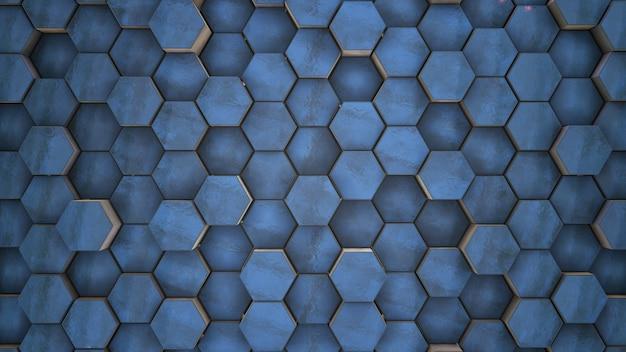 3d-rendering. echte abstrakte blaue eisreinigung technische geometrische sechsecke dunkler hintergrund zufällige bewegung, 3d-animation