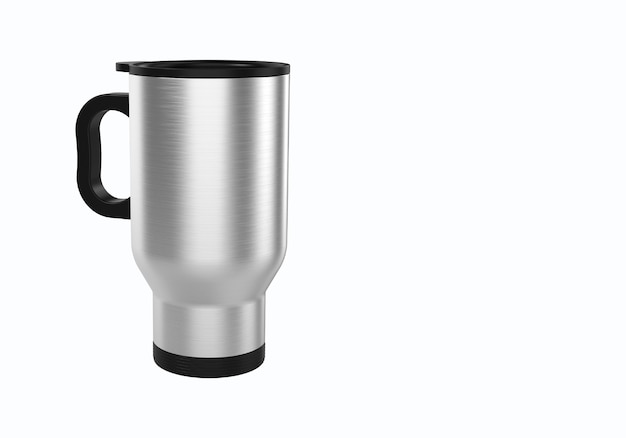 3d-rendering edelstahl-reisebecher für kaffee oder tee auf weißem hintergrund. geeignet für ihr modellelementprojekt.