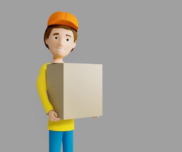 3d-rendering. ein mann in uniform von einem lieferdienst mit einer kiste in der hand.
