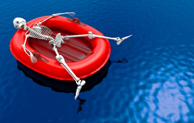 3d-rendering. ein menschlicher skelettknochen, der auf rotem lebenrettungsboot allein auf oberflächenhintergrund des blauen wassers liegt.