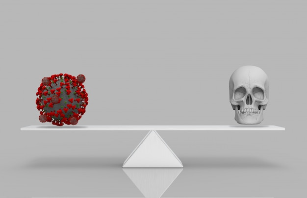 3d-rendering. ein rotes covid-19- oder corona-virus mit menschlichem kopfschädel auf der waage des weißen dreiecks. virus ist todeskonzept.