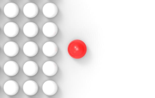 3d-rendering. eine rote führung trennt sich von anderen weißen kugelkugeln.