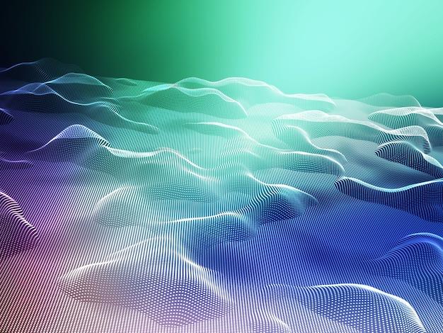 3d-rendering einer abstrakten landschaft fließender punkte