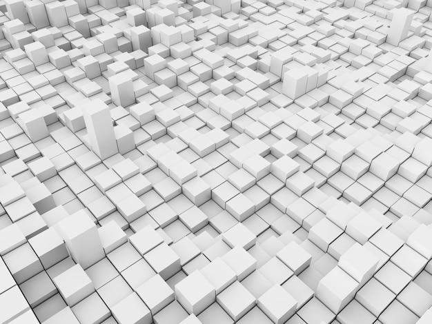 3d-rendering einer abstrakten landschaft mit extrudierten blöcken