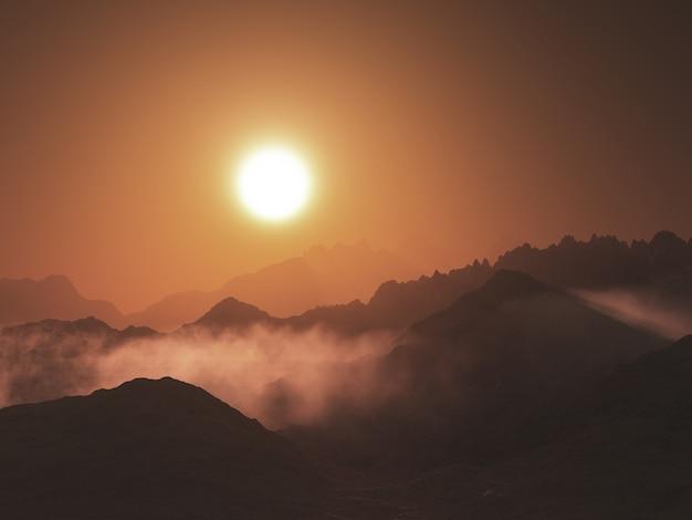 3d-rendering einer berglandschaft mit niedrigen wolken gegen einen sonnenuntergangshimmel