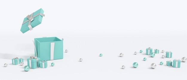 3d-rendering einer geschenkbox öffnet und leerer raum für ein kommerzielles konzept der feier