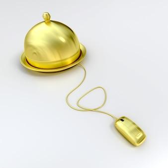 3d-rendering einer goldenen platte, die mit einem glockendeckel bedeckt ist und mit einer computermaus verbunden ist
