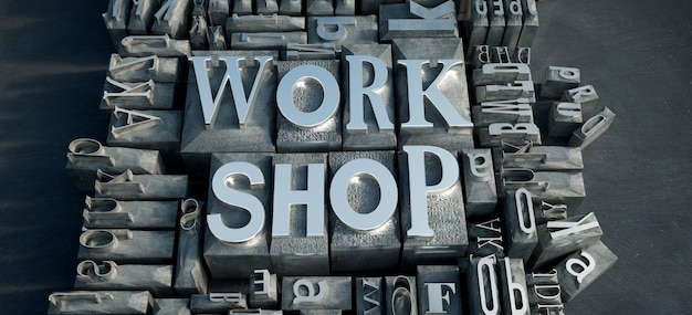 3d-rendering einer gruppe von metalldruckbuchstaben mit den worten work shop