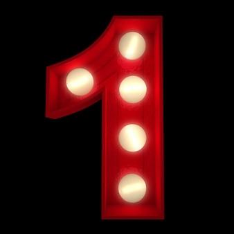 3d-rendering einer leuchtenden nummer 1, ideal für showbusiness-schilder