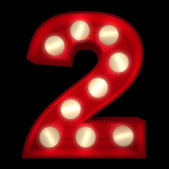 3d-rendering einer leuchtenden nummer 2, ideal für showbusiness-schilder