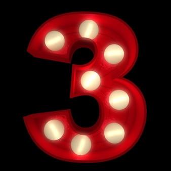 3d-rendering einer leuchtenden nummer 3, ideal für showbusiness-schilder