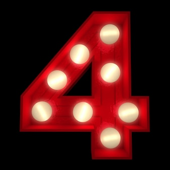 3d-rendering einer leuchtenden nummer 4, ideal für showbusiness-schilder