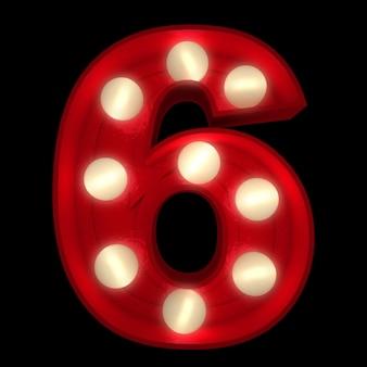 3d-rendering einer leuchtenden nummer 6, ideal für showbusiness-schilder