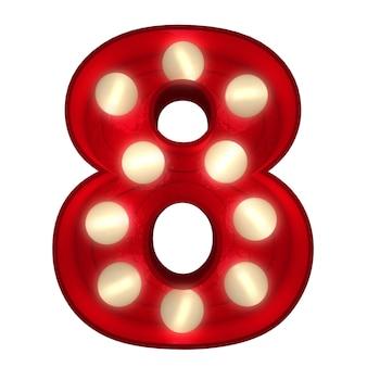 3d-rendering einer leuchtenden nummer 8, ideal für showbusiness-schilder