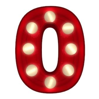 3d-rendering einer leuchtenden zahl 0, ideal für zeichen des showbusiness