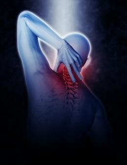 3d-rendering einer männlichen figur, die den hals im schmerz hält