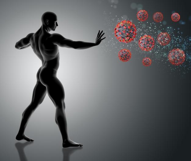 3d-rendering einer männlichen figur, die die hand heraushält und covid 19-viruszellen stoppt