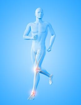 3d-rendering einer männlichen medizinischen figur, die mit hervorgehobenen knie- und knöchelknochen läuft