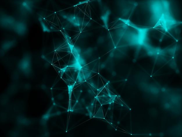 3d-rendering einer modernen netzwerkverbindung mit plexus-design