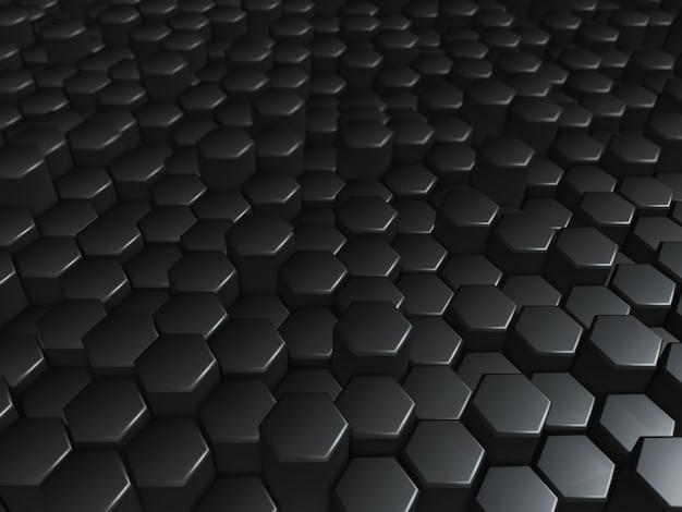 3d-rendering einer modernen technologie aus schwarz extrudierenden sechsecken