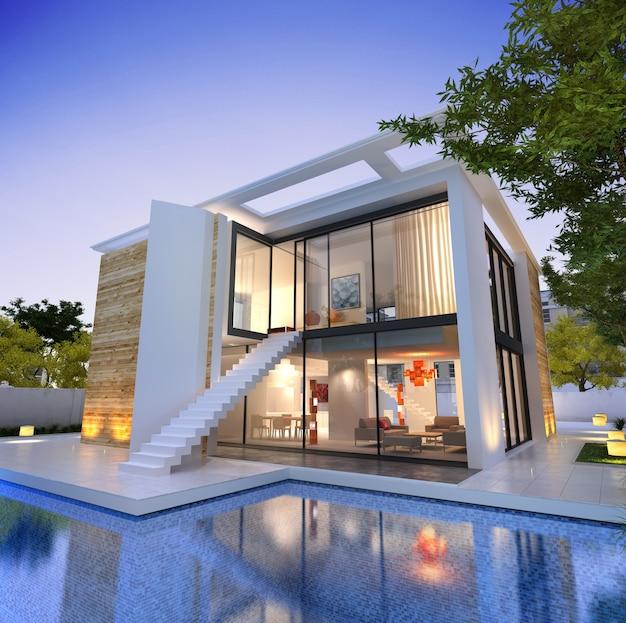 3d-rendering einer modernen villa