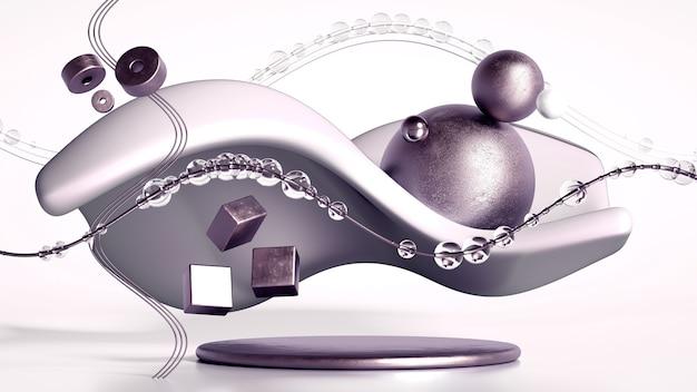 3d-rendering einer realistischen komposition. fliegende kugeln, tori, röhren, kegel und kristalle in bewegung. schöner abstraktionshintergrund-minimalismus. 3d-darstellung, 3d-rendering.