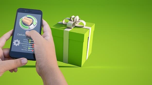 3d-rendering einer smartphone-app, die den online-geschenkkauf verfolgt