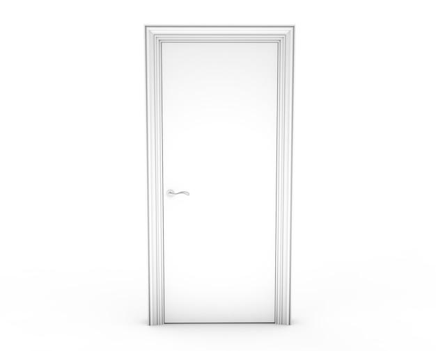 3d-rendering einer tür, die frei auf einem weißen boden steht