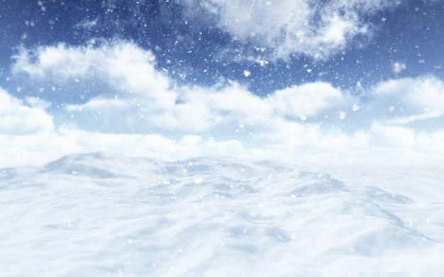3d-rendering einer verschneiten landschaft mit fallenden schneeflocken