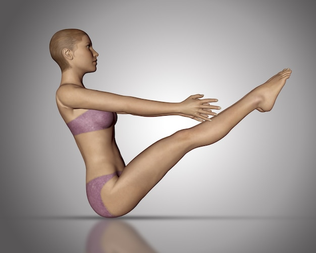 3d-rendering einer weiblichen figur in einer yoga-position