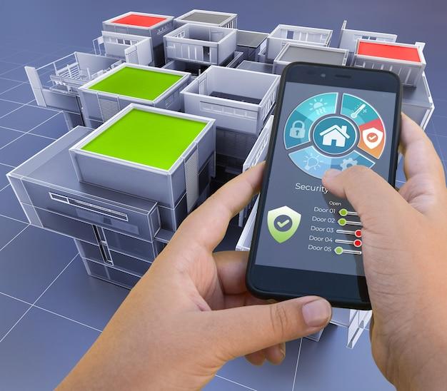 3d-rendering einer wohnung, die von einer smartphone-app gesteuert wird