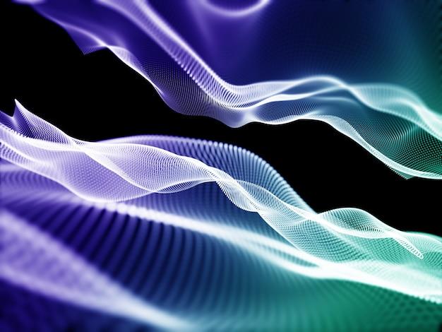 3d-rendering einer zusammenfassung mit fließenden cyberpunkten