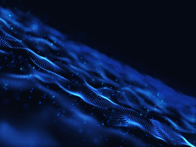 3d-rendering eines abstrakten digital mit modernen fließenden partikeln