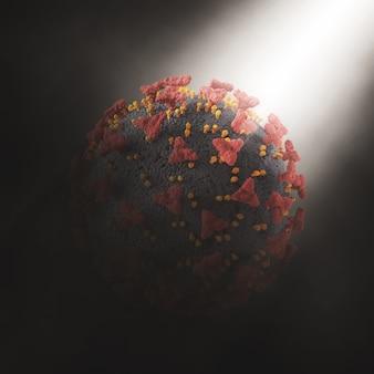 3d-rendering eines abstrakten hintergrunds mit covid 19-viruszelle