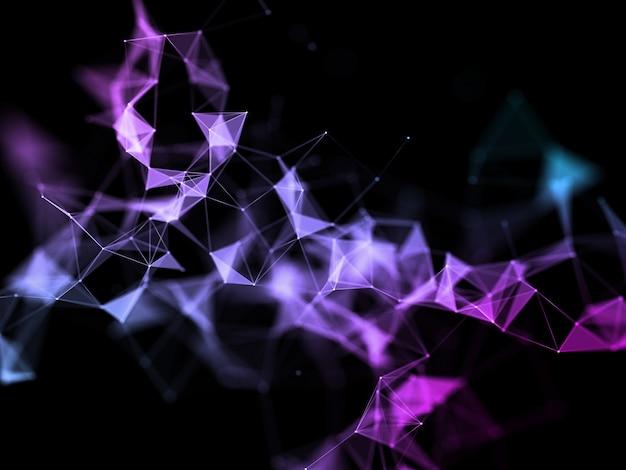 3d-rendering eines abstrakten hintergrunds mit einem niedrigen polyplexusentwurf