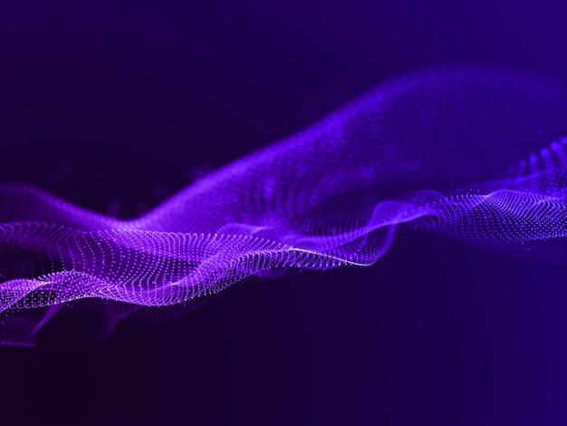 3d-rendering eines abstrakten hintergrunds mit fließenden partikeln