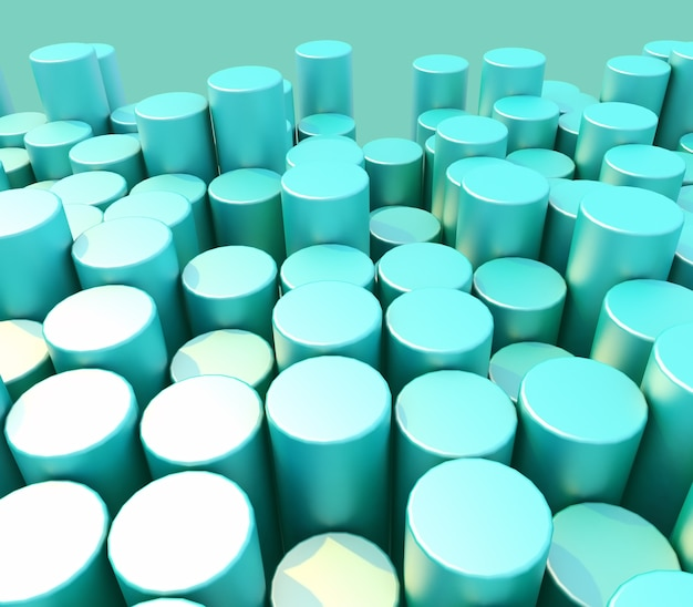 3d-rendering eines abstrakten hintergrunds von zylindern