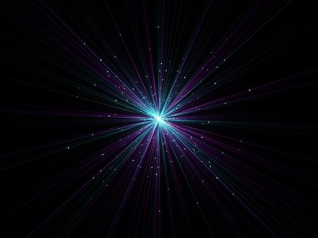 3d-rendering eines abstrakten zoomeffekthintergrunds mit explodierenden partikeln
