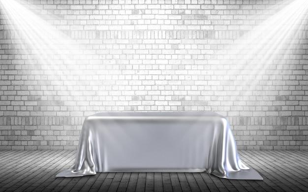 3d-rendering eines anzeigehintergrunds mit podium unter scheinwerfern